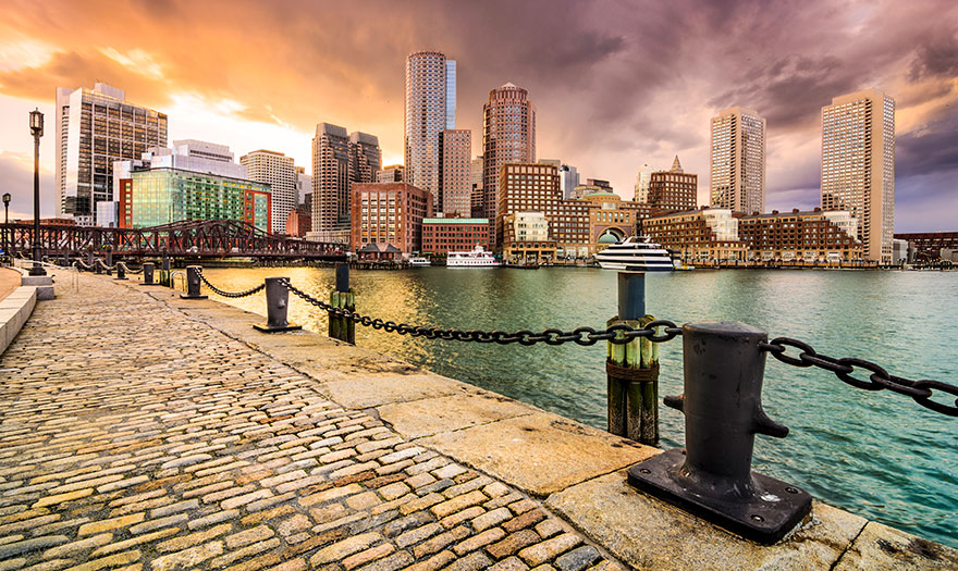 boston massachussets downtown view from pier
